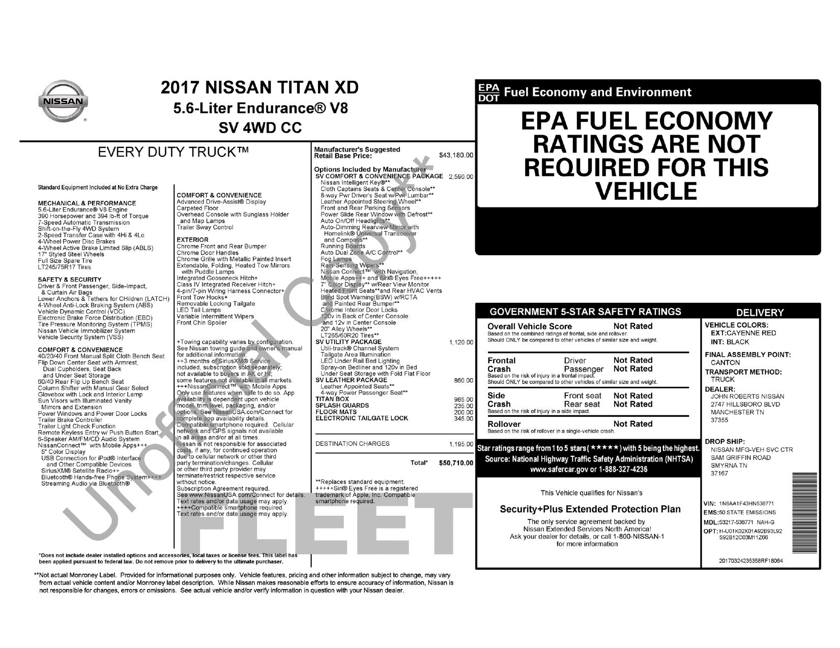 Window Sticker For 2017 Nissan Titan Xd 7 Pin Trailer Wiring